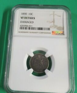 1890   DIME  LIBERTY SEATED   VF DETAILS   NGC