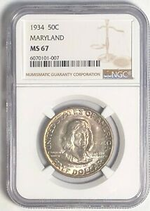 Click now to see the BUY IT NOW Price! 1934 MARYLAND COMMEMORATIVE SILVER HALF DOLLAR NGC MS67:  NICE DETAIL TONING