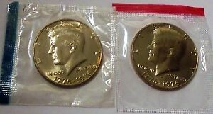 1976 P D CHOICE UNCIRCULATED KENNEDY HALF DOLLARS IN CELLOPHANE TYPE 1 4