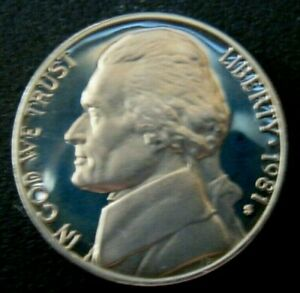 1981 S PROOF JEFFERSON 5 CENT NICKEL COIN FREE SHIP