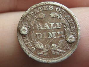 1858 P SEATED LIBERTY HALF DIME VG DETAILS