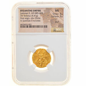 Click now to see the BUY IT NOW Price! [905727] MNZE JUSTINIAN II SOLIDUS 692 695 CONSTANTINOPLE GRADED NGC MS