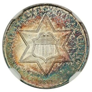 1861 3 CENT SILVER NGC MS 65 SPECTACULAR COLORED GEM OF THIS CIVIL WAR COIN