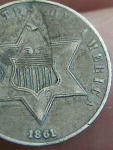 1861 THREE 3 CENT SILVER PIECE  XF DETAILS ROTATED REVERSE MINT ERROR
