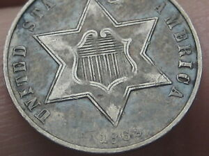 1862 THREE 3 CENT SILVER TRIME  XF DETAILS