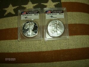 2016 BURNISHED SP70 & 2016 PROOF PR70 SILVER EAGLE PCGS FS FLAG MERCANTI SIGNED