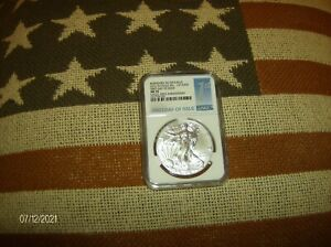 2016 W BURNISHED NGC MS70 SILVER EAGLE 30TH LETTER EDG FDOI ACTUAL COIN PICTURED