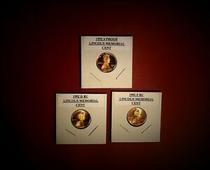 ONE THREE COIN SET 1992 PROOF 1992 P BU 1992 D BU LINCOLN CENTS
