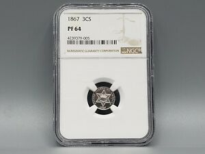1867 THREE CENT SILVER NGC PF64 TOUGH DATE