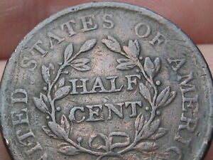 1806 DRAPED BUST HALF CENT  FINE/VF DETAILS SMALL 6 STEMLESS