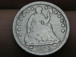 1853 P SEATED LIBERTY HALF DIME  WITH ARROWS FINE DETAILS