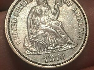 1873 SEATED LIBERTY SILVER DIME  NO ARROWS CLOSED 3 AU DETAILS
