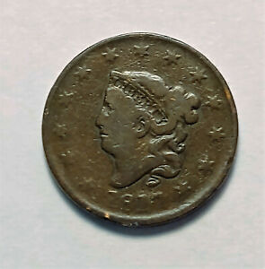BETTER 1817 MATRON HEAD 13 STARS US LARGE CENT PENNY COIN