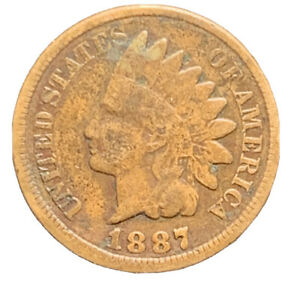 1887 FINE INDIAN HEAD CENT GOOD EXACT COIN  8627