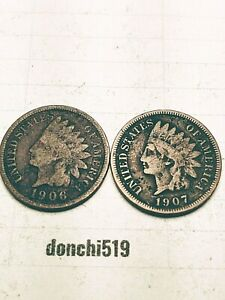 1906 1907 INDIAN HEAD SMALL CENTS G  IC 24 06   LOT OF 2