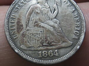 1864 SEATED LIBERTY SILVER DIME VF OBVERSE DETAILS FULL DATE