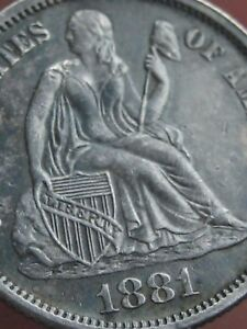 1881 SEATED LIBERTY SILVER DIME  AU DETAILS
