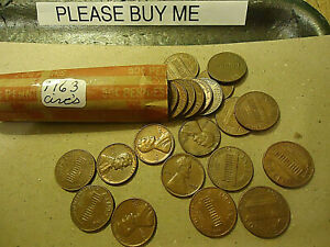 1963 ROLL OF CIRCS LINCOLN CENTS               S&H C/S
