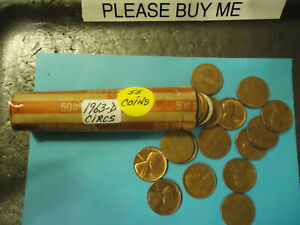 1963 D ROLL OF CIRCS LINCOLN CENTS               S&H C/S