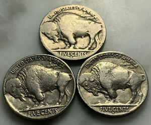 1936 PDS   BUFFALO   3 COINS   GREAT STARTERS   NICKEL LOT070B NICKLE