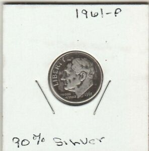 1961 P 90  SILVER CIRCULATED ROOSEVELT DIME