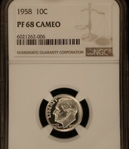 1958 10C NGC PROOF 67 CAMEO PROOF       HEAVILY CONTRASTED