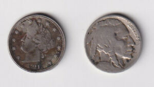 1911 LIBERTY AND 1929 BUFFALO UNITED STATES 5 CENT COINS