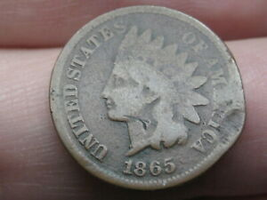 1865 INDIAN HEAD CENT PENNY  PLAIN 5 VG DETAILS ROTATED REVERSE MINT ERROR