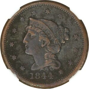 1844 1C LARGE CENT   BRAIDED HAIR   CORROSION   NGC XF DETAILS
