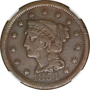 1854 1C BRAIDED HAIR LARGE CENT    NGC VF DETAILS