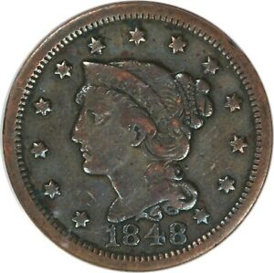 1848 1C LARGE CENT   BRAIDED HAIR   SCRATCHED CLEANED   ANACS VF 20 DETAILS