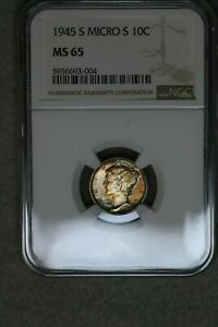 1945 S 10C MERCURY SILVER DIME NGC MS65 COLOR TONED MICRO S