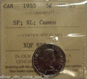 Click now to see the BUY IT NOW Price! ELIZABETH II 1953 SF; NL CAMEO FIVE CENTS   ICCS MS 65  XQF 857