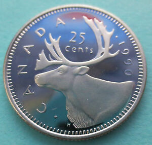 1990 CANADA 25 CENTS PROOF COIN