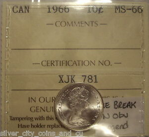 Click now to see the BUY IT NOW Price! SUPER GEM ELIZABETH II 1966 DIE CRACK SILVER TEN CENTS   ICCS MS 66  XJK 781