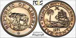 Click now to see the BUY IT NOW Price! LIBERIA 1971 NICKEL 5 CENT PCGS PR67 DEEP CAMEO FINEST KNOWN TOP POP TONED GOLD