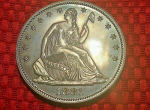 1881 SEATED LIBERTY SILVER PROOF HALF IN PF    ONLY 975 MINTED  BLUE TONED  WOW