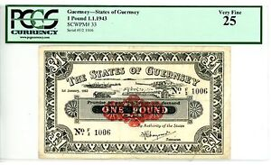 Click now to see the BUY IT NOW Price! GUERNSEY   P 33   1 POUND   1943    VF    PCGS 25