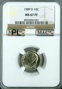Click now to see the BUY IT NOW Price! 1989 D ROOSEVELT DIME NGC MAC MS67 FT PL PQ SPOTLESS   .