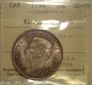 Click now to see the BUY IT NOW Price! CANADA GEORGE VI 1939 SILVER 50 CENTS   ICCS MS 65 VICTORIA NORTH