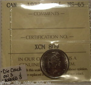Click now to see the BUY IT NOW Price! CANADA ELIZABETH II 1973 DIE CRACK ON 3 TEN CENTS   ICCS MS 65  XCM 809