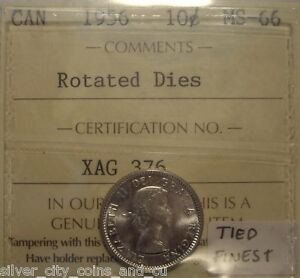 Click now to see the BUY IT NOW Price! CANADA ELIZABETH II 1956 ROTATED DIES SILVER TEN CENTS   ICCS MS 66  XAG 376