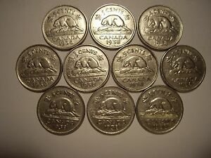CANADA GEORGE VI 1938 FIVE CENTS   LOT OF 10 COINS