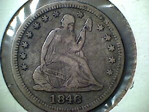 1846 SEATED LIBERTY QUARTER  VF    DATE