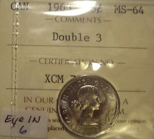 Click now to see the BUY IT NOW Price! CANADA ELIZABETH II 1963 DOUBLED 3; EYE IN 6 FIVE CENTS   ICCS MS 64  XCM 793