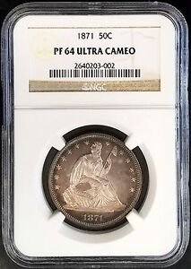 Click now to see the BUY IT NOW Price! 1871 PROOF SEATED LIBERTY HALF DOLLAR CERTIFIED PF 64 ULTRA CAMEO BY NGC