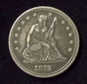 1872 P LIBERTY SEATED 25C AU DETAILS AT BUT ONLY 182 000 MINTED