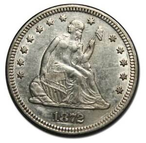 1872 SEATED LIBERTY SILVER QUARTER COIN 25 LOT MZ 4593