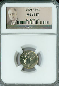 Click now to see the BUY IT NOW Price! 2005 P ROOSEVELT DIME NGC MS67 FT FINEST BUSINESS STRIKE POP 10  SPOTLESS  .