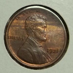 Click now to see the BUY IT NOW Price! 1921 P LINCOLN CENT BU .. WOOD GRAINED PLANCHET .. SOME MINT LUSTER REMAINING
